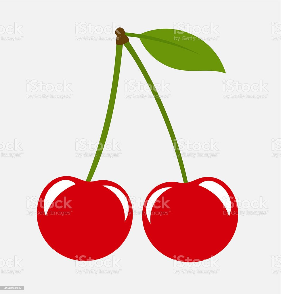 Two cherries vector art illustration