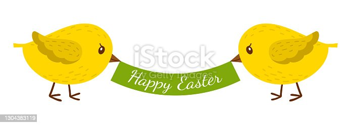 istock Two chickens hold a ribbon, a banner with the words Happy Easter. Cartoon colorful bird characters. Color vector illustration, a flat-style decorative element. Isolated on a white background. 1304383119