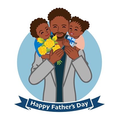 Two children give gifts for father, african - Father's day clip art