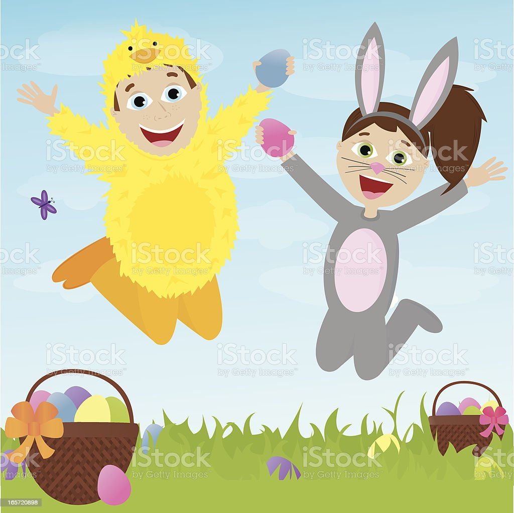 Two Children in Costumes Excited for Easter! royalty-free stock vector art