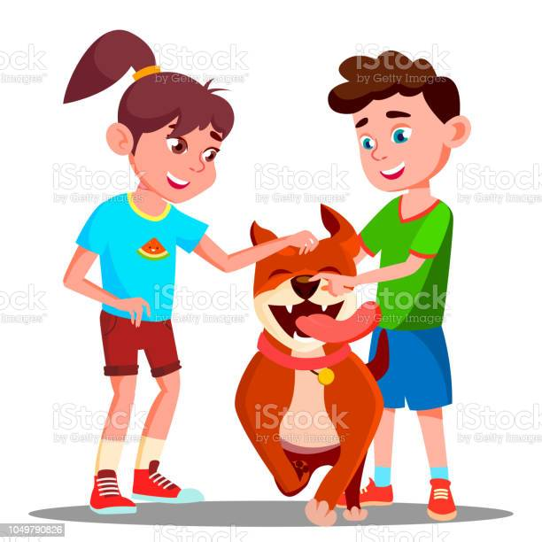Two children petting a happy dog vector isolated illustration vector id1049790826?b=1&k=6&m=1049790826&s=612x612&h=lpzskg1nvrvus6qzvyke p0pjag5qgni1xwiw40vzxo=