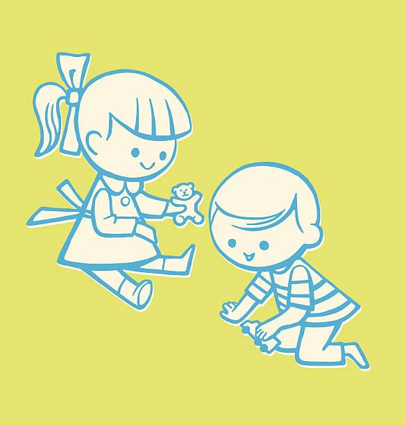 お子様が 2 つ - 姉妹点のイラスト素材/クリップアート素材/マンガ素材/アイコン素材