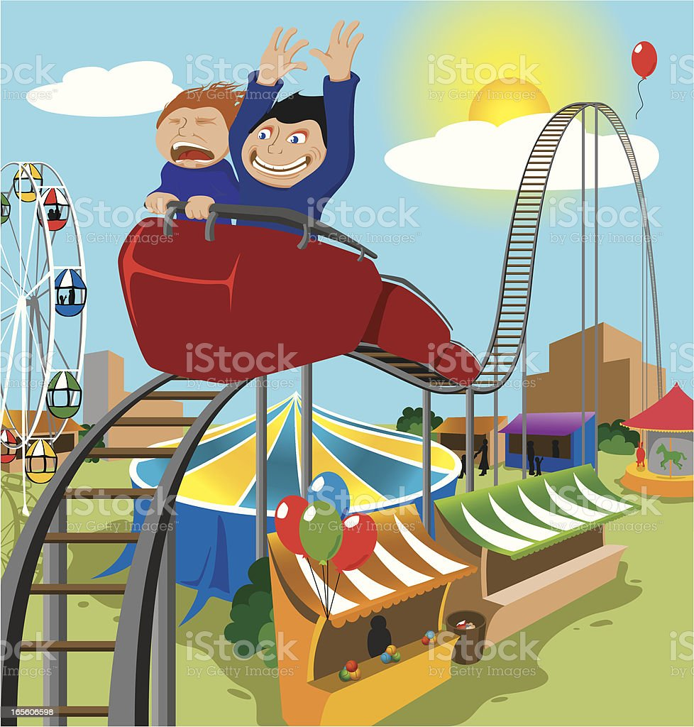 Two Children Riding Rollercoaster royalty-free two children riding rollercoaster stock vector art & more images of amusement park