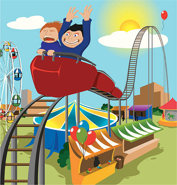 Two Children Riding Rollercoaster vector art illustration