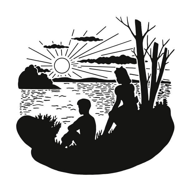 Two Children Sitting on Lakeshore Two Children Sitting on Lakeshore lakeshore stock illustrations