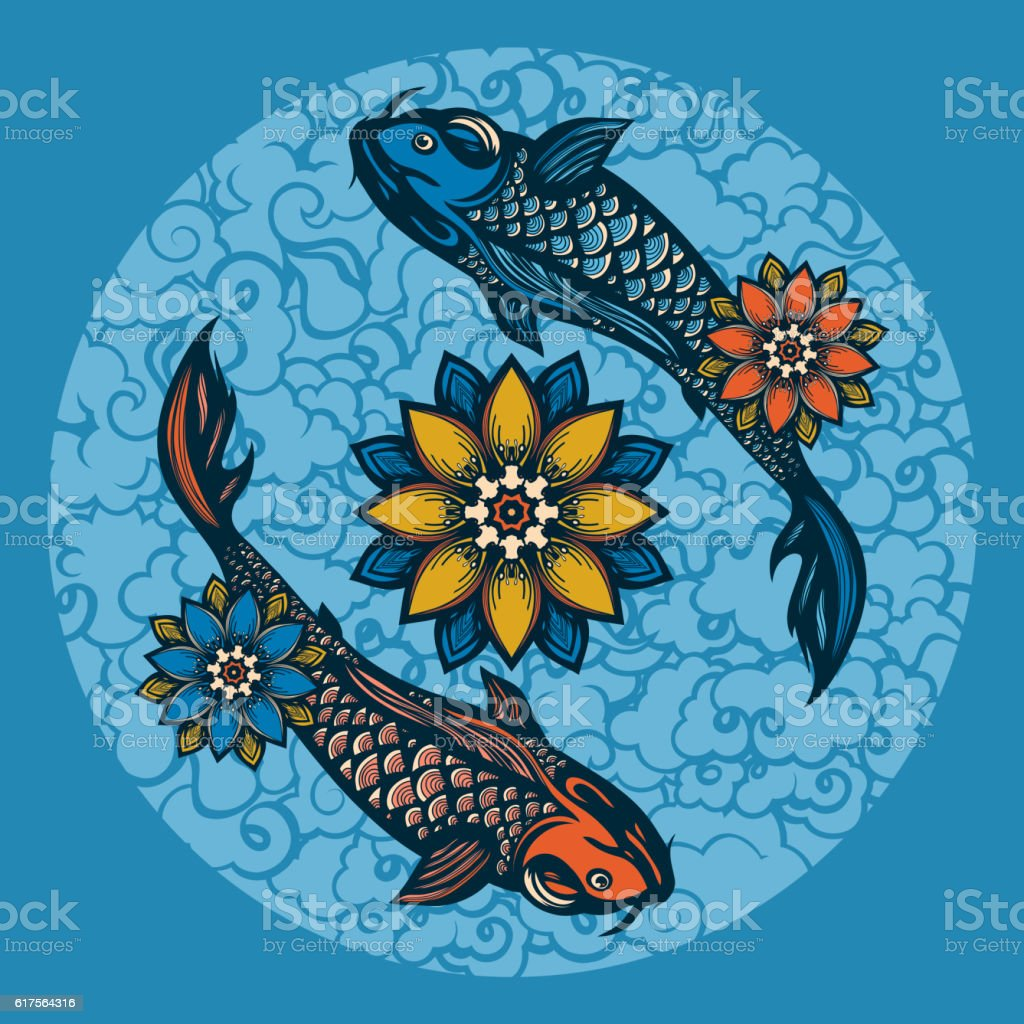 Two Chinese Koi Carp And Lotus Flowers Stock Vector Art More