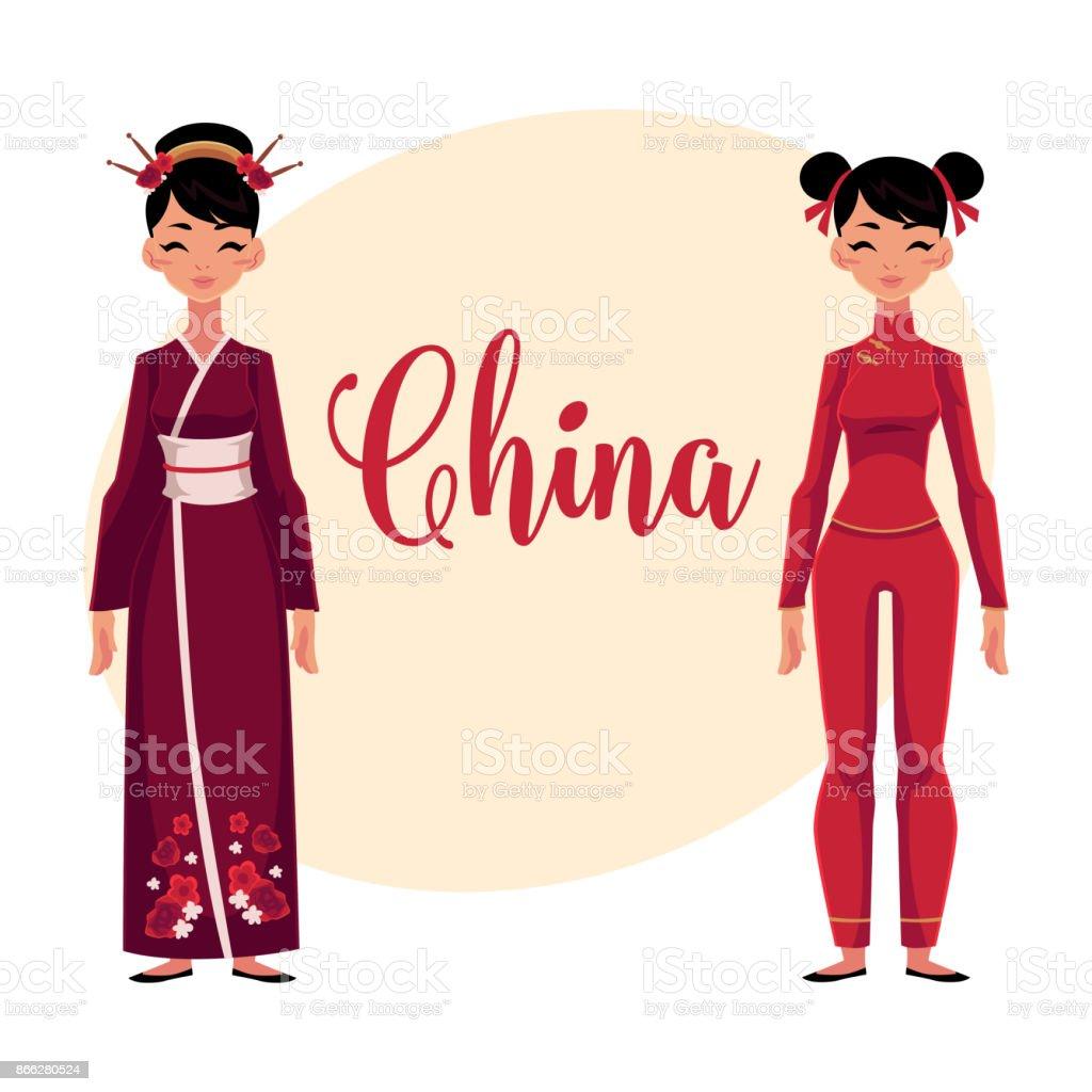 伝統的な民族衣装で 2 人の中国人女性 いっぱいになるのベクターアート
