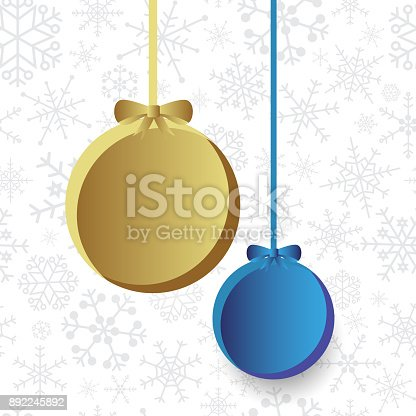 istock two christmas bulb on snowflake background eps10 892245892