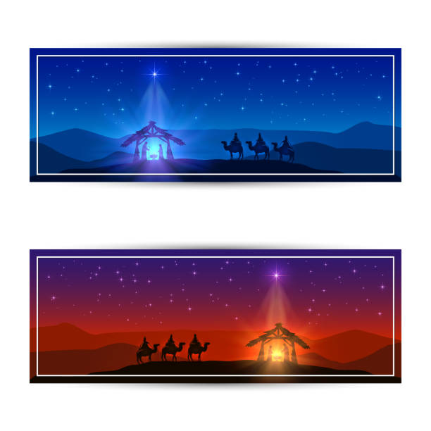 Two Christmas cards with star and birth of Jesus Christmas cards with Christmas star, birth of Jesus and three wise men, illustration. nativity silhouette stock illustrations