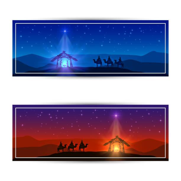 ilustrações de stock, clip art, desenhos animados e ícones de two christmas cards with star and birth of jesus - reis magos