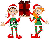 vector illustration of Two Christmas elf holding gift box