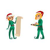 Two Christmas elves, present list, document folder
