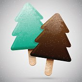 Two Christmas tree shaped frosted ice creams, vector delicious set, winter holiday food icon