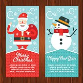 Two christmas web banners with santa claus and cheerful snowman