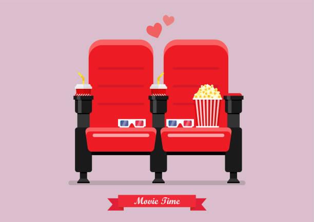 illustrations, cliparts, dessins animés et icônes de deux places de cinéma avec pop-corn boissons et verres - cinéma