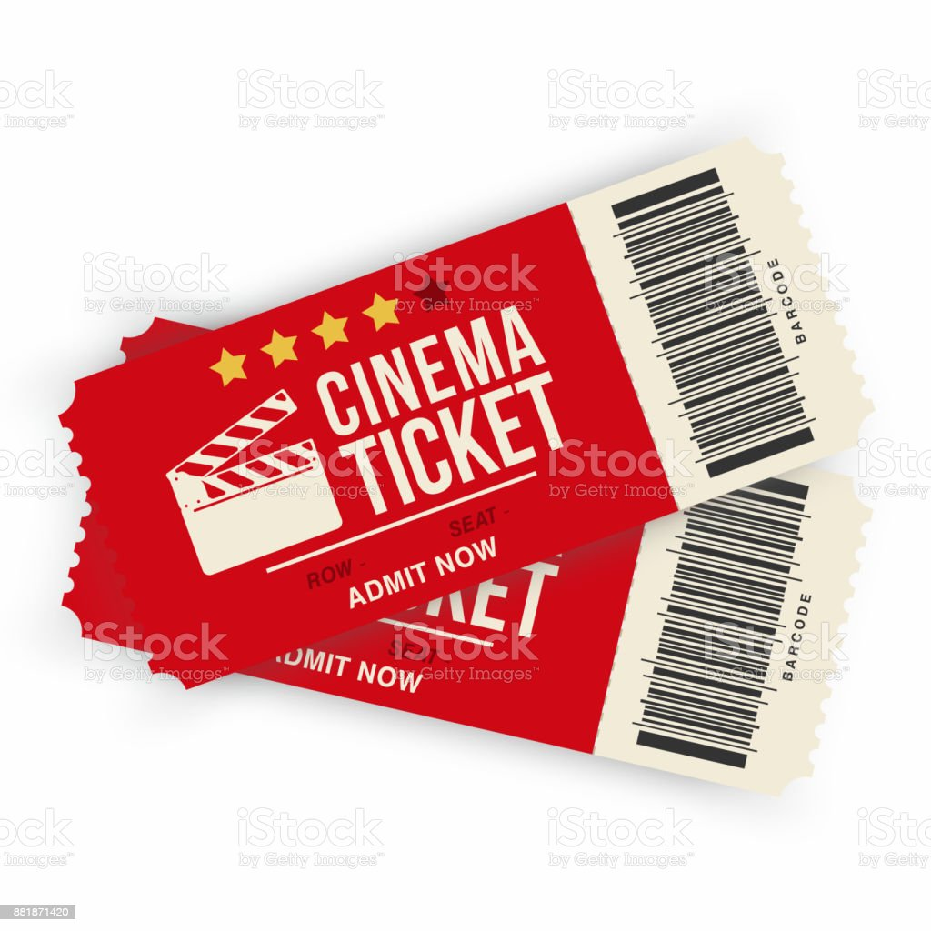 two cinema tickets isolated on background realistic cinema or movie