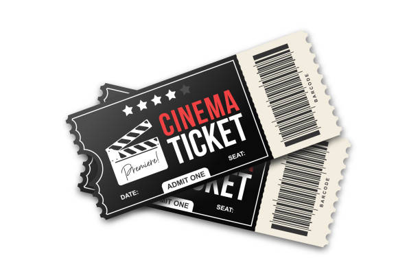 Two cinema tickets on white background. Movie tickets template in black and red colors Two cinema tickets on white background. Movie tickets template in black and red colors movie ticket stock illustrations