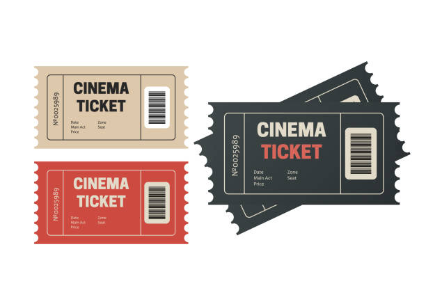 Two cinema vector tickets isolated. Movie tickets. Event icons Two cinema vector tickets isolated. Movie tickets. Event icons movie ticket stock illustrations