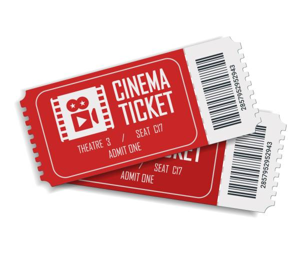 Two cinema vector tickets isolated on white background. Realistic front view illustration. Close up top view on two designed movie tickets. Two cinema vector tickets isolated on white background. Realistic front view illustration. Close up top view on two designed movie tickets. movie ticket stock illustrations
