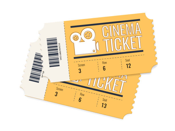 Two cinema vector tickets isolated on white background. Realistic front view illustration. Two cinema vector tickets isolated on white background. Realistic front view illustration. Cinema Ticket Card modern element design. Creative concept: pair of cinema admit one made of yellow paper movie ticket stock illustrations