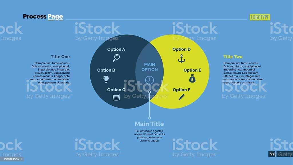 Two Circles Venn Diagram Slide Template Stock Vector Art More