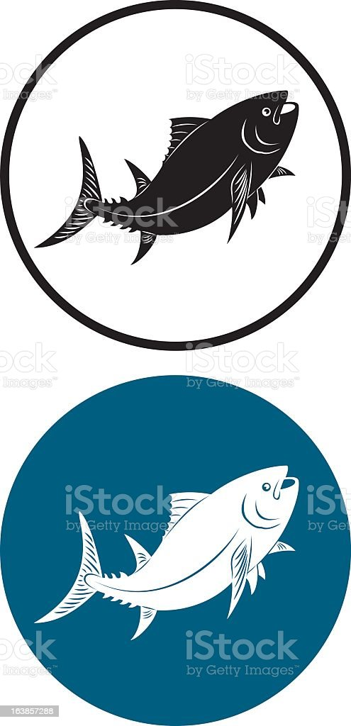 Two circles with tuna inside, one a negative of the other vector art illustration