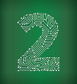 Two Circuit Board on royalty free vector background. The electric circuit board is white and is set against a green background. Detailed illustration of the circuit board fill up the entire object and forms clean edges. Icon download includes vector art and jpg file.