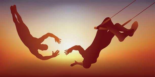 illustrazioni stock, clip art, cartoni animati e icone di tendenza di two circus artists do an aerobatic act on their trapeze. - afferrare