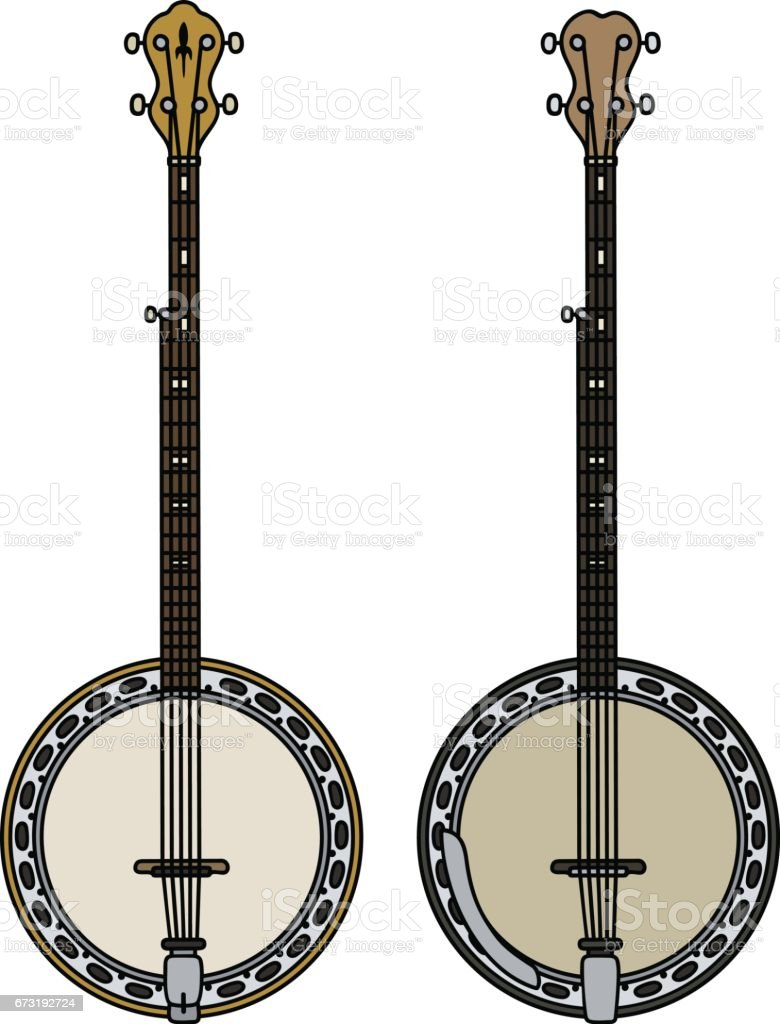 Two classic banjo vector art illustration