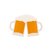 Two clinking beer mugs with foam isolated on white. Traditional Bavarian beer festival Oktoberfest. Flat vector icon. Template for logo design, poster, banner, flyer, t-shirt, invitation, sticker.