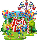 Two clowns in the fun park