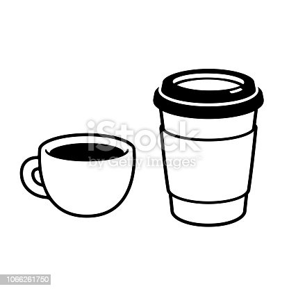 Coffee cups: espresso mug and disposable paper cup. Simple black and white drawing, isolated vector illustration.
