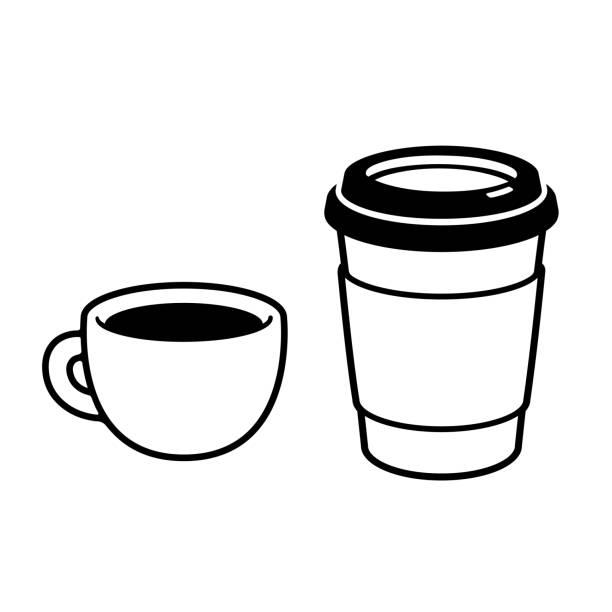 bildbanksillustrationer, clip art samt tecknat material och ikoner med två kaffekoppar ritning - kaffekopp