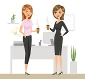 Two colleagues drinking coffee and talking in the office. Two smiling women are drinking coffee in the workplace. Vector illustration.