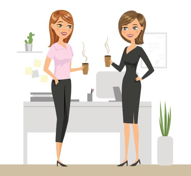 two colleagues drinking coffee and talking in the office. two smiling women are drinking coffee in the workplace. vector illustration. - two people talking stock illustrations, clip art, cartoons, & icons