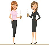 Two colleagues or friends drinking coffee and talking. Two smiling women are drinking. Vector illustration isolated on white.