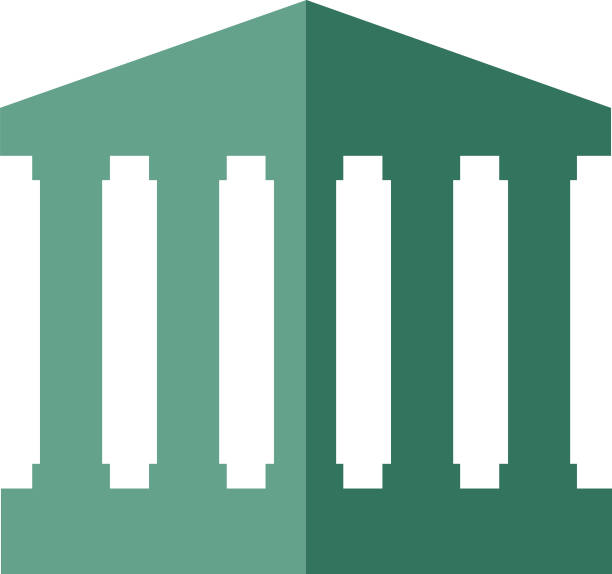 Two Color Government Building Icon Vector illustration of a government building icon in two shades of green. wall street stock illustrations