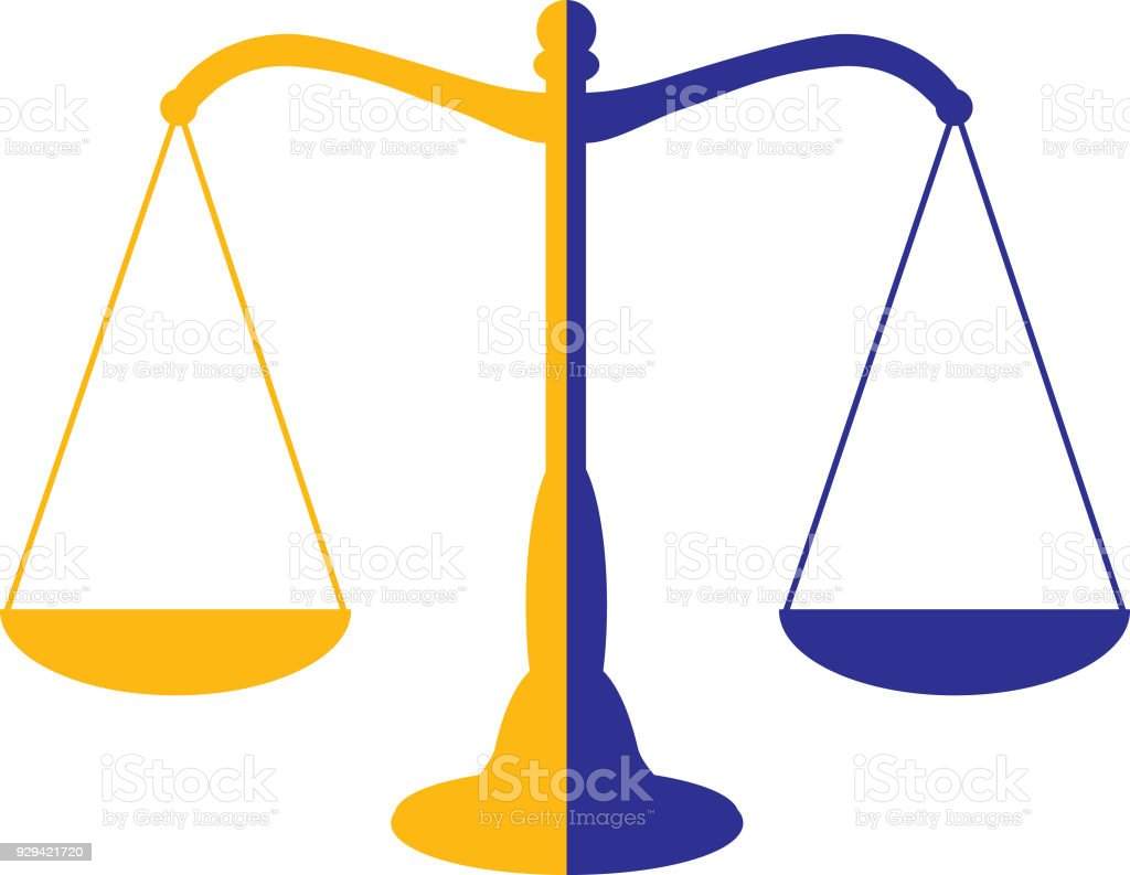 Two Color Scales Of Justice Icon Stock Illustration