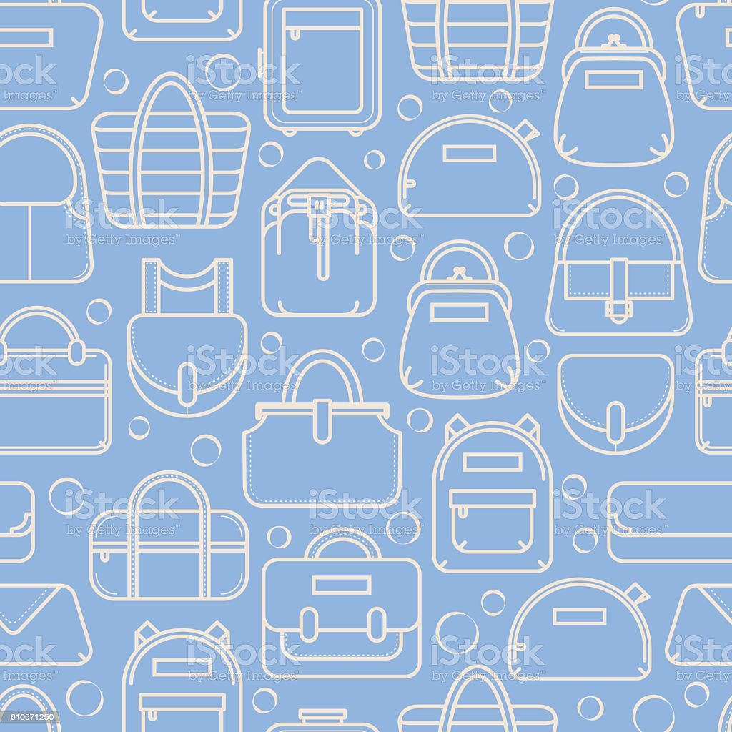 two color seamless background with fashion bag line icons アイコン