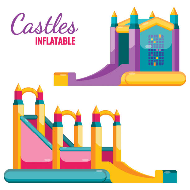 Two colorful castles inflatable isolated on white vector poster vector art illustration