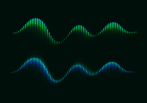 Two Colorful Modern Equalizers. Aurora Borealis Vector Illustration. Music Waves Concept Symbols