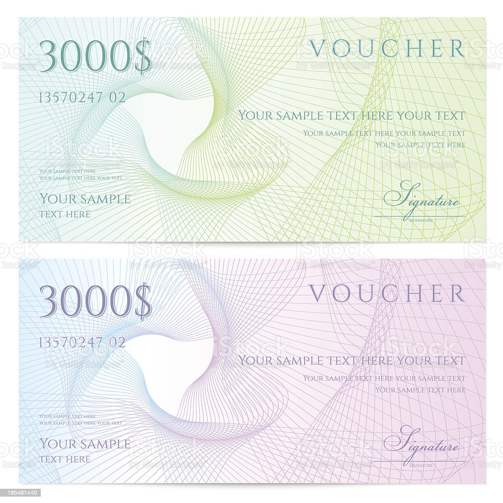 Two colorful vouches for $3000 each vector art illustration