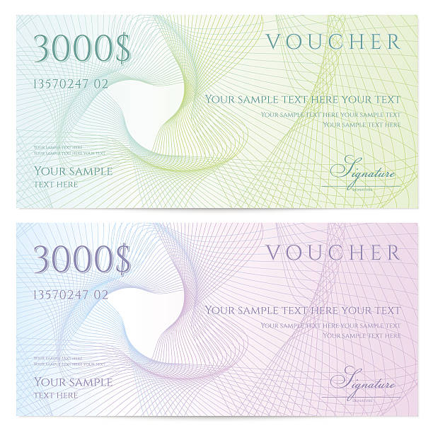 Two colorful vouches for $3000 each Similar Files: banking patterns stock illustrations