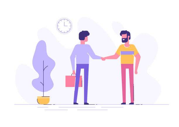 Two confident young men are shaking hands together in an office. Business consept. Modern flat illustration. Two confident young men are shaking hands together in an office. Business consept. Modern flat illustration. greeting stock illustrations