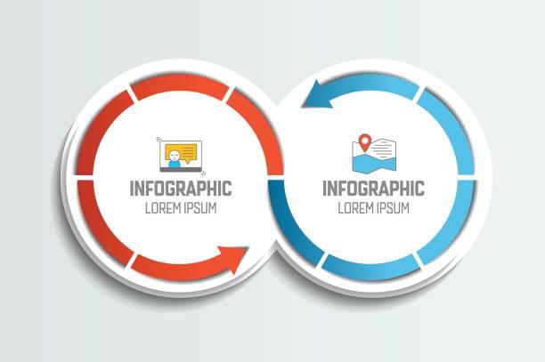 두 개의 연결된 화살표 원입니다. infographic 요소입니다. - 쌍 stock illustrations