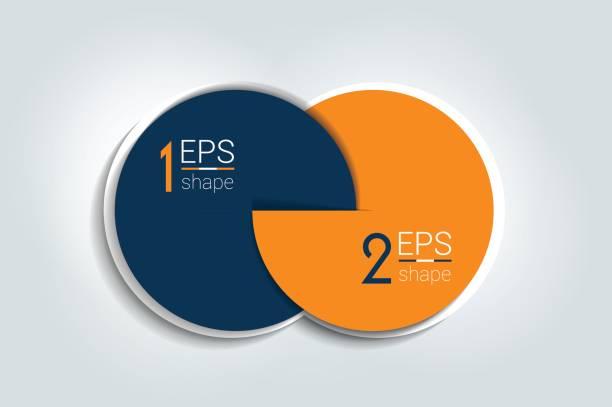 2 개의 연결 된 원형 차트입니다. 2 단계 디자인, infographic, 번호 옵션입니다. - 쌍 stock illustrations