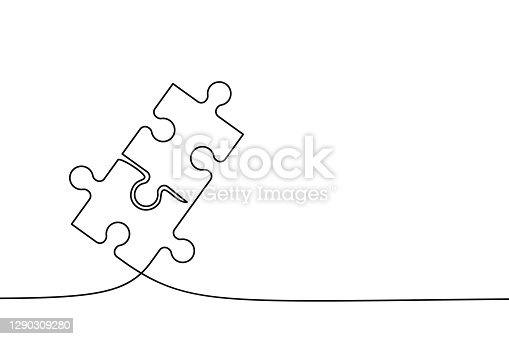 istock Two connected puzzle pieces of one continuous line drawn. Jigsaw puzzle element. Vector 1290309280