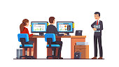 Supervisor manager or boss executive holding document folder watching at two analyst employees working at their desks & desktop computers doing work. Flat style vector illustration