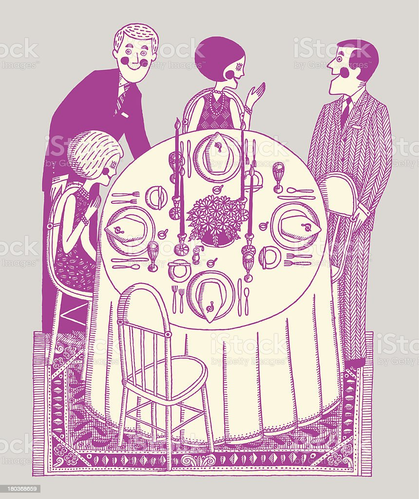 Two Couples Having Dinner vector art illustration