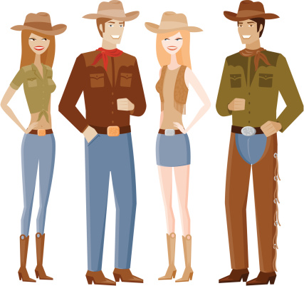 Two Couples in Cowboy Outfits